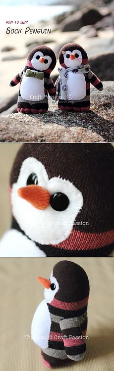 Sock Penguin - Free Sew Pattern                                                                                                                                                                                 More #Socktoys