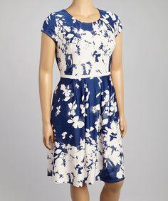 Look what I found on #zulily! Blue & White Floral Cap-Sleeve Dress - Plus #zulilyfinds