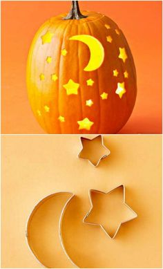 Carve a pumpkin with cookie cutters and other simple pumpkin ideas . - Carve a pumpkin with cookie cutters and other simple pumpkin ideas - Halloween Pumpkin Carving Stencils, Halloween Pumpkin Designs, Amazing Pumpkin Carving, Fete Halloween, Easy Halloween, Halloween Treats, Halloween Pumpkins, Pumkin Carving Easy, Fun Pumpkin Carving Ideas