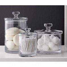 Sale ends soon. Shop Set of 5 Glass Canisters. Simple bathroom storage with a retro feel. Handmade glass canisters with nesting lids update a classic apothecary look. Bathroom Organisation, Bathroom Storage, Makeup Storage, Makeup Organization, Storage Organization, Glass Canisters, Bathroom Canisters, Apothecary Bathroom, Bathroom Tumbler