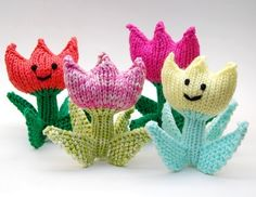 Spring Tulip Flower Amigurumi Plush Toy Soft Sculpture Knitting Pattern