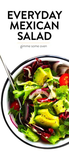 Everyday Mexican Salad A simple but delicious paleo and everyday chicken marinade. Everyday Mexican Salad A simple but delicious paleo and everyday chicken marinade. Mexican Entrees, Mexican Salad Recipes, Mexican Salads, Side Salad Recipes, Dinner Recipes, Mexican Avocado, Greek Recipes, Whole30, Fun Easy Recipes