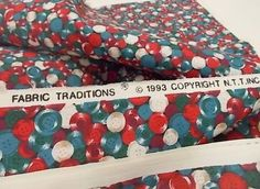 Button Print Fabric, Sewing Material, Fabric Traditions, 1 yard Remnant