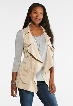 a045dae7e3378 Cato Fashions Plus Size Waterfall Drape Vest  CatoFashions Cato Fashion  Plus Size