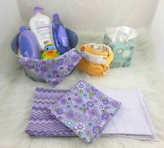 Cloth Wipes, Washcloths, Burp Cloths, Handkerchiefs in Purple Flowers, Chevrons,