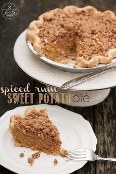 Comfort food doesn't get much better than this Spiced Rum Sweet Potato Pie with Brown Sugar Pecan Streusel and a homemade all butter pie crust.