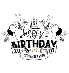 Happy birthday greeting card hand lettering vector More