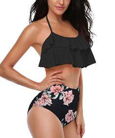f2a433fd83 Coeur de Vague | Black Halter Layered Bikini Top & Floral High-Waist Bottoms  - Women