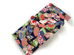 Fancy checkbook cover with handmade button closure by HiGirls