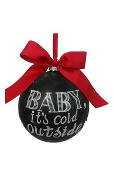 Free shipping and returns on Sage & Co  'Cold' Chalkboard Ornament at Nordstrom.com. A festive yuletide message is sprinkled with icy glitter and painted atop a glass chalkboard-style ornament tied with a big red bow.