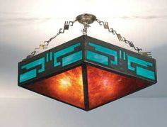 Southwest Mission Chand/Glass Ceiling Fixture