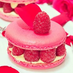 French Cuisine : Famous Ispahan Macaron, made with Rose, Lychee Cream and Rasberry. By Pierre Hermé