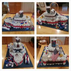 Nautical themed diaper cake/boat. This is my diaper cake from my baby shower. I have some creative friends.