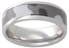 Vitalium Metal Band with a Grey Camo In-Lay  - Available at Martin Jewelry at Westroads Mall in Omaha, NE.  402-397-3771.  www.martinjewelry.net.