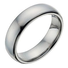 Stylish and incredibly hardwearing, this chic polished titanium men's ring is an elegant choice for a wedding band, or simply stylish dress ring for the modern man.