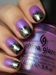 Purple nail art! Love this....I would have used a lighter green for the design.