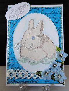 Gestempelte Osterkarte mit einem kleinen Hasen,  rasende Hasenpost Stamping, Easter Activities
