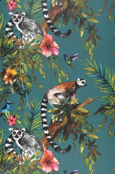 Wallpaper Madagascar Matt Monkeys Leaves Blossoms Animals Birds Steel blue Blue Brown Yellow Shades of green Rose 70's Wallpaper, Animal Wallpaper, Pattern Wallpaper, Cloakroom Wallpaper, Amazing Wallpaper, Wallpaper Backgrounds, Madagascar, Motifs Animal, French Home Decor