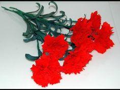 ▶ Kwiaty z bibuły. Modny goździk. Krok po kroku DIY - YouTube