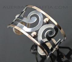 Cuff | Graziella Laffi. Sterling silver and 18k gold. Ca. 1950s, Peru