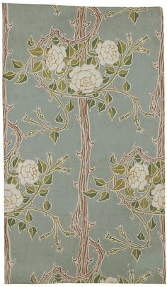 Walter Crane Portion of 'Rose Bush' wallpaper, a design of rose bushes with thorned stems on a dark ground; Colour woodblock print on paper. Art Nouveau, Art Deco, Of Wallpaper, Designer Wallpaper, Pattern Wallpaper, Textures Patterns, Fabric Patterns, Print Patterns, Arts And Crafts Movement