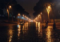Rainy Night photography is gorgeus. Notice the street lights pick up the reflections of the rain on the streets. Rainy Night, Rainy Days, Night Rain, Rainy Street, Beautiful Places, Beautiful Pictures, Amazing Photos, Beautiful Moments, Simply Beautiful