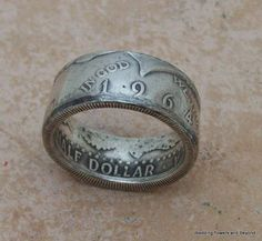 love this idea MeNS CHRiSTMaS GiFT HaNDmaDe Silver Coin Ring 1964 Kennedy Half Dollar 90% Fine Silver Jewlery Size 10