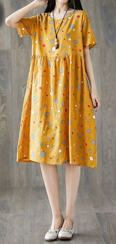 Women loose fit large size dress color bubbles spot tunic short sleeve casual #unbranded #dress