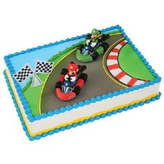 This cake kit is themed for Mario Kart. You have Mario and Luigi driving their karts. You will get the two figures and the checkerd flag and Mario Kart logo. Luigi Cake, Mario Kart Cake, Super Mario Cake, Super Mario Party, Mario Birthday Cake, Super Mario Birthday, Birthday Cakes, 5th Birthday, Birthday Parties