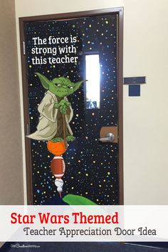 Cool Star Ward Themed Door Decorating Idea featured with 21 Teacher Appreciation Door Ideas! {OneCreativeMommy.com} So many great ideas for your teacher! (The Force is Strong with This Teacher!)