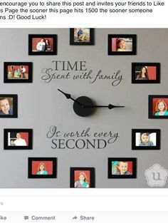 Full wall clock with family pictures, love this! Between my siblings and my in-laws, I could have 12 different family photos. My parents and 6 siblings with their families, and my husbands parents and his 4 sibling with their families.