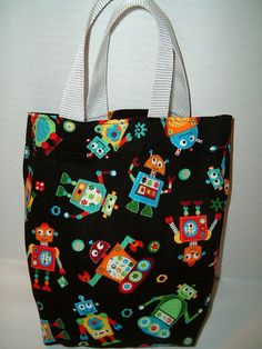f2f76994be401 Funny Robots Little Girl Boy Purse Gift Bag Tote