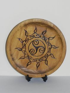 Celtic Sun Woodburned Plaque