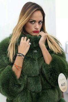 Today i'm in #green #style  From #Milano #Fashion #Week 2014 #Fox #fur #jacket with #whole #skins.#SAGA #ROYAL FOX #QUALITY.  http://www.jewelsandfurs.com/web/en/shop/fox/ef001108/