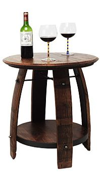 Side table made out of an oak wine barrel! Apparently these are often thrown out after being used to age grapes. #upcycled