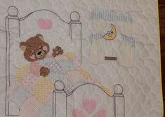 New ddition to my #etsy shop: Vintage #handmade Embroidered Crib Blanket. Tuck me in at Bedtime Bear baby blanket http://etsy.me/2n4cmZz #housewares #bedroom #bedding #fblogger #vintage #handmade #embroidered #cribblanket