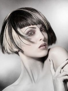 Blonde and Black Hair Color Ideas -I used to have this cut but now I`m devoted to my waist-length hair. Still love it & this black/blonde look is super cool, too. Choppy Bob Hairstyles, Easy Hairstyles, Straight Hairstyles, Edgy Haircuts, Indian Hairstyles, Black Hairstyles, Celebrity Hairstyles, Medium Black Hair, Hair Color For Black Hair