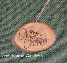 Handmade Rustic Wood Burn Merry Christmas Holiday Wood Slice Tree Ornament #Handmade