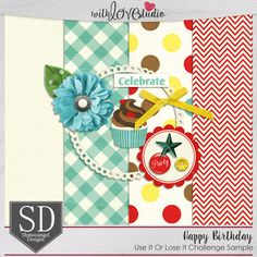 June Use It Or Lose It digital scrapbooking challenge at With Love Studio.