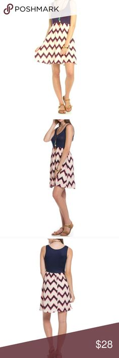 💫Sleeveless Blue Chevron Dress💫 Beautiful sleeveless chevron blue dress. This is 100% made in the USA. 95% Polyester 5% Spandex. Beautiful colors throughout the dress. Light weight material. Great dress to go out in or just to wear everyday. This comes in a size S, M. New dress. The Blossom Apparel Dresses Mini