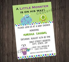 Monsters Inc Baby Shower Book Request Cards Babies