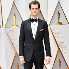 Andrew Garfield in a TOM FORD black tuxedo at the 89th Academy Awards.  #TOMFORD #Oscars