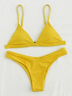 ¡Cómpralo ya!. Triangle High Leg Bikini Set. Yellow Bikinis Sexy Vacation Triangle Polyester YES Swimwear. , bikini, bikini, biquini, conjuntosdebikinis, twopiece, bikini, bikini, bikini, bikini, bikinis. Bikini de mujer de SheIn.