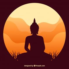 Statue of buddha silhouette with sunset . Buda Painting, Painting Art, Wall Painting Decor, Art Painting Gallery, Buddha Wall Art, Buddha Wall Painting, Buddha Kunst, Silhouette Painting, Silhouette Images