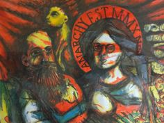 """Alexandr and Emma  Acrylic  Paper """"20 X """"16  2010    """"If the forest hears his calling,where the ground with seed is planted.  And the grain shall sprout and flourish,may it never come to ripeness."""""""
