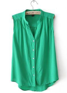 Green V Neck Blouse