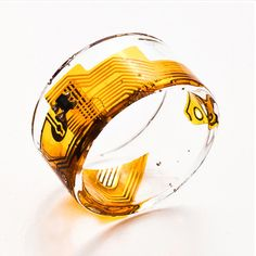 Ring made with upcycled circuit boards and other tech parts