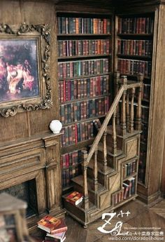 I want to make a floor to ceiling bookcase in K's AG doll house. Corner of amazing miniature library room box - scale Vitrine Miniature, Miniature Rooms, Miniature Houses, Miniature Furniture, Dollhouse Furniture, Haunted Dollhouse, Dollhouse Miniatures, Home Libraries, Tiny World