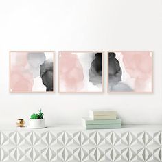 Blush Pink and Grey Feature Wall Art Set of 3 Prints