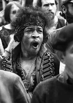 Peace, Love and  Flowers - Jimi in the audience at Monterey Pop which got underway tonight 6-16 in 1967 - the Summer of Love was officially under way! Monterey Pop ushered it in.